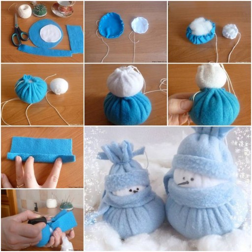 How to Make Felt Snowman Christmas holiday home decor step by step DIY tutorial instructions thumb