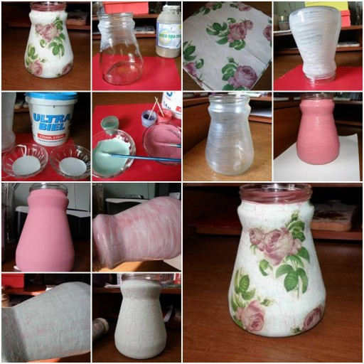 How to Make Flower Fabric container glass Jar step by step DIY tutorial instructions thumb