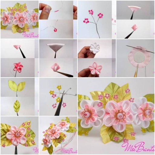 How to Make Golden Sakura Ribbon Flowers step by step DIY tutorial instructions thumb