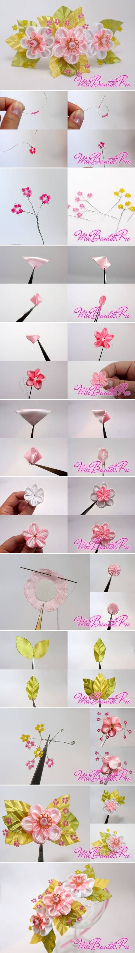 How to Make Golden Sakura Ribbon Flowers step by step DIY tutorial instructions
