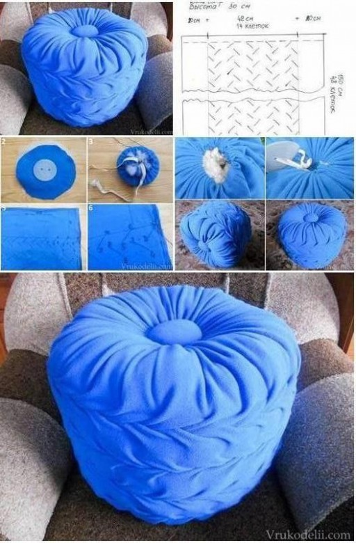 How to Make living room Floor Pillow Puff step by step DIY tutorial instructions thumb