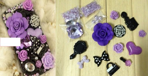 How to decorate beautiful 3D smart phone case with Purple Roses, Heart, Bow and Pearls step by step DIY tutorial instructions