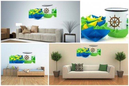 How to do Paper Boats and Marine Mug custom wall decals with Peel and Stick vinyl stickers