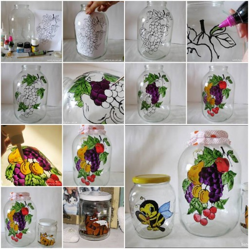 How to do beautiful glass Jar Painting step by step DIY tutorial instructions thumb