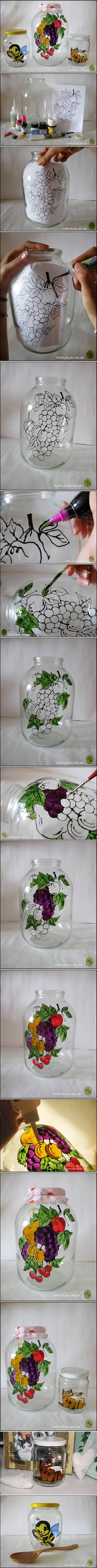 How to do beautiful glass Jar Painting step by step DIY tutorial instructions