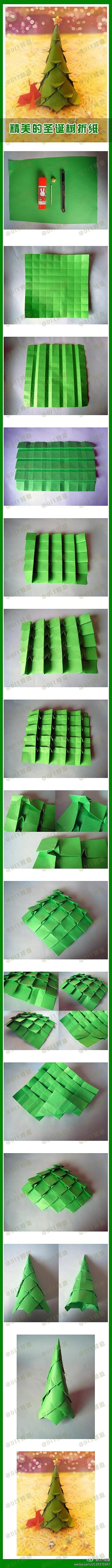 How to fold origami paper craft Christmas trees step by step DIY tutorial instructions