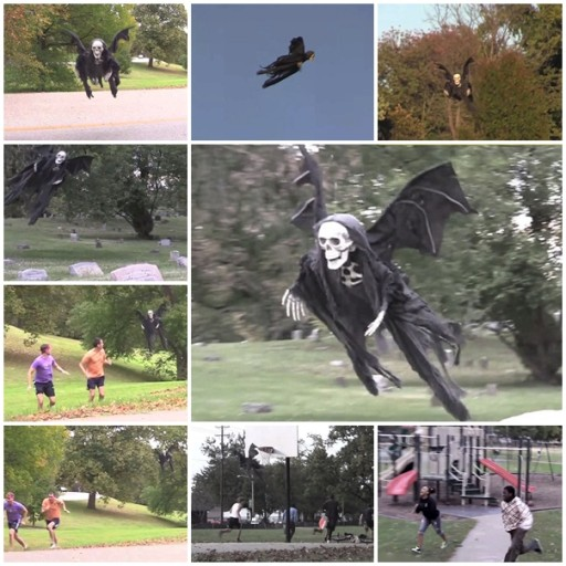 How to horrify people with a flying Halloween reaper