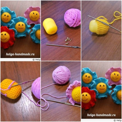 How to knit pretty Flowers as Baby toys step by step DIY tutorial instructions thumb