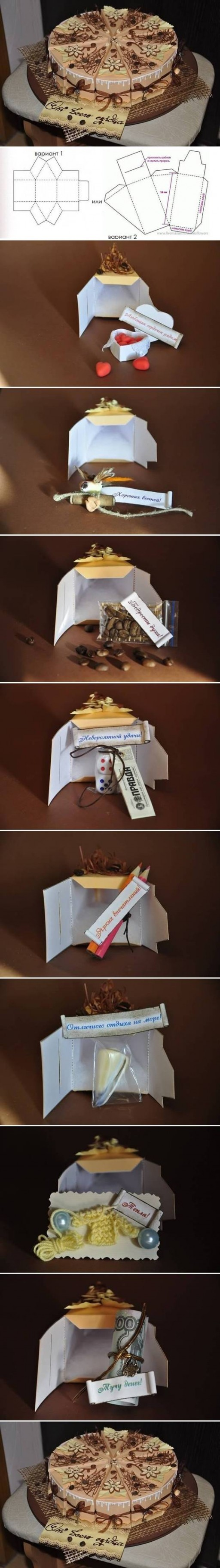How to make Cake Gift Box Template step by step DIY tutorial instructions