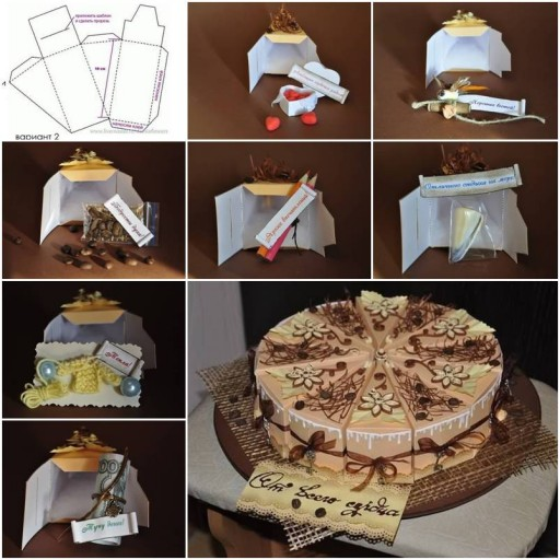 How to make Cake Gift Box Template step by step DIY tutorial instructions thumb