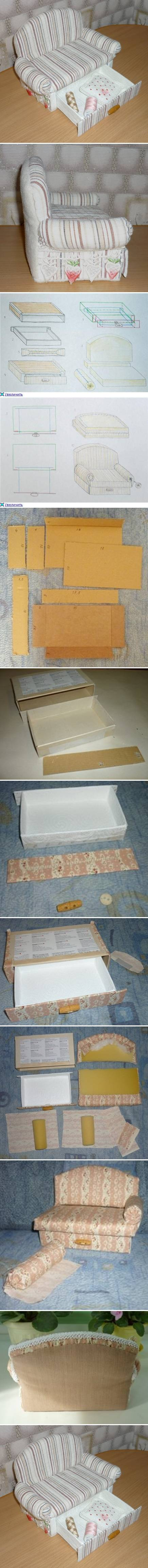 How to make Cardboard Sofa with Drawer storage unit step by step DIY tutorial instructions