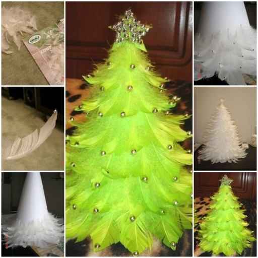 How to make Christmas Tree out of Feathers step by step DIY tutorial instructions thumb