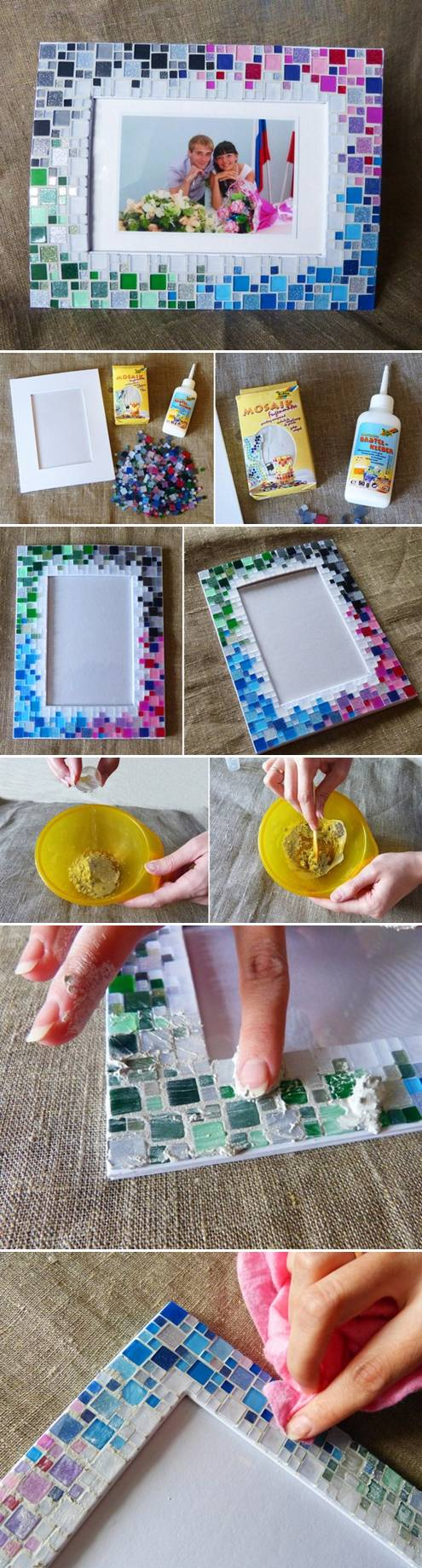 How to make Colorful Mosaic Picture collage photoframe step by step DIY tutorial instructions