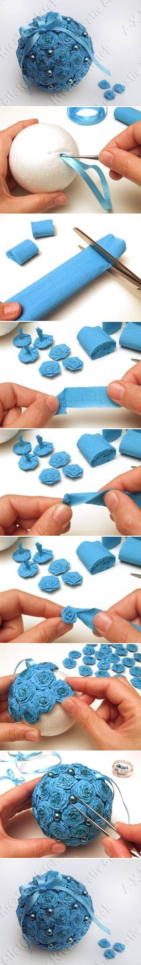 How to make Crepe Paper Flower Ball step by step DIY tutorial instructions