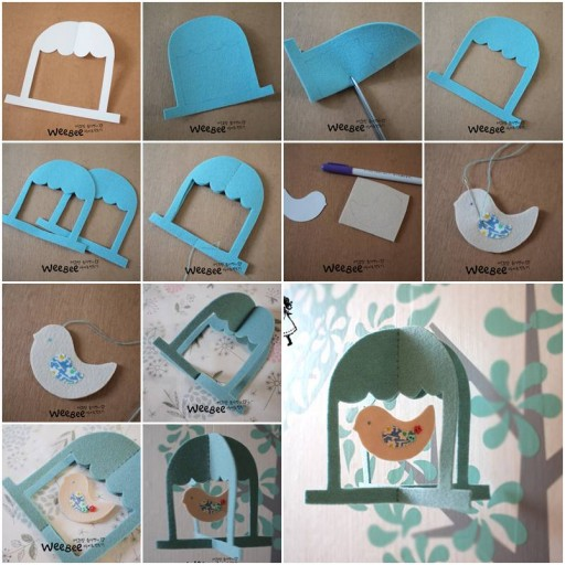 How to make Cute Felt Bird Mobile step by step DIY tutorial instructions thumb