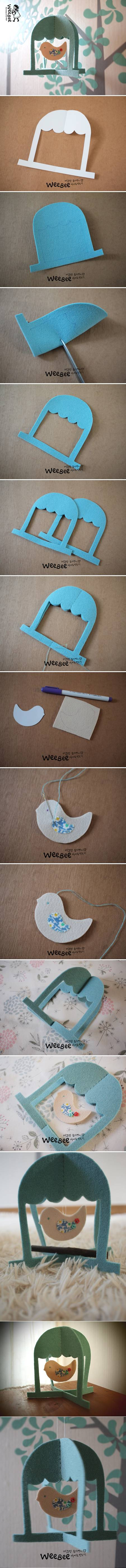 How to make Cute Felt Bird Mobile step by step DIY tutorial instructions