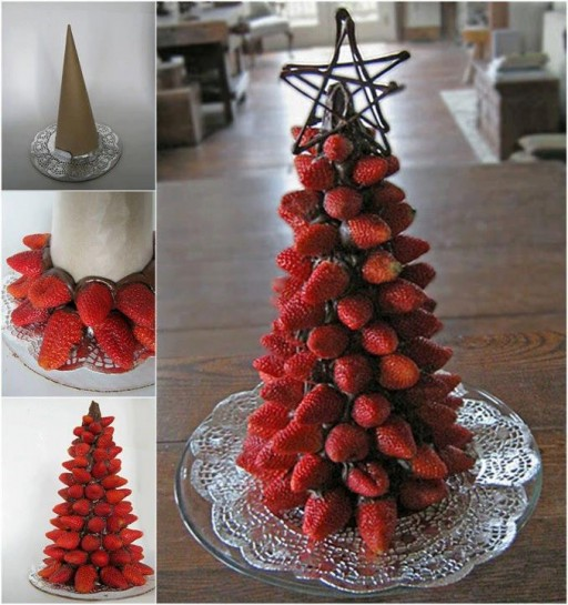 How to make Cute strawberry Christmas trees step by step DIY tutorial instructions