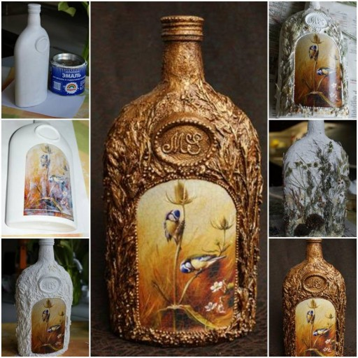 How to make Decorative Glass Bottle step by step DIY tutorial instructions thumb