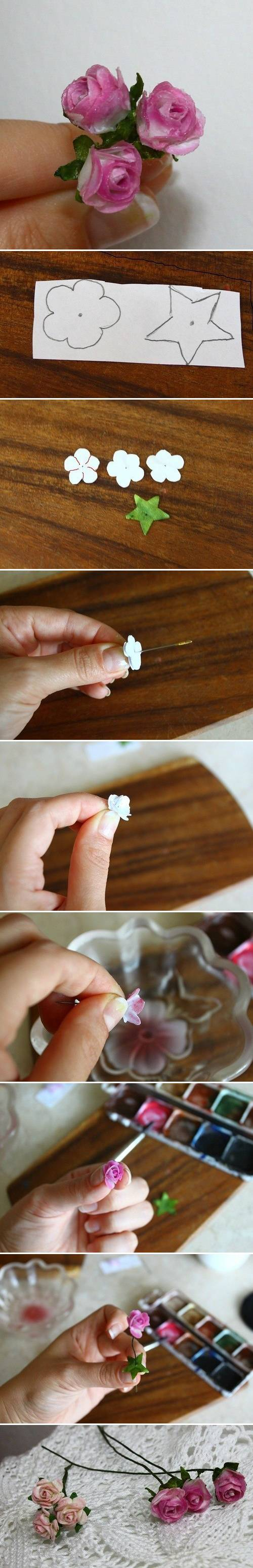 How to make Delicate Mini Roses step by step DIY tutorial instructions