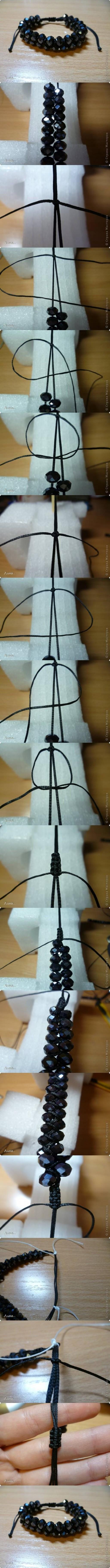 How to make Dual Shambhala Bracelet step by step DIY tutorial instructions
