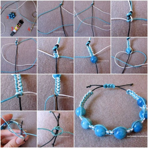 How to make Large Beads Bracelet step by step DIY tutorial instructions thumb