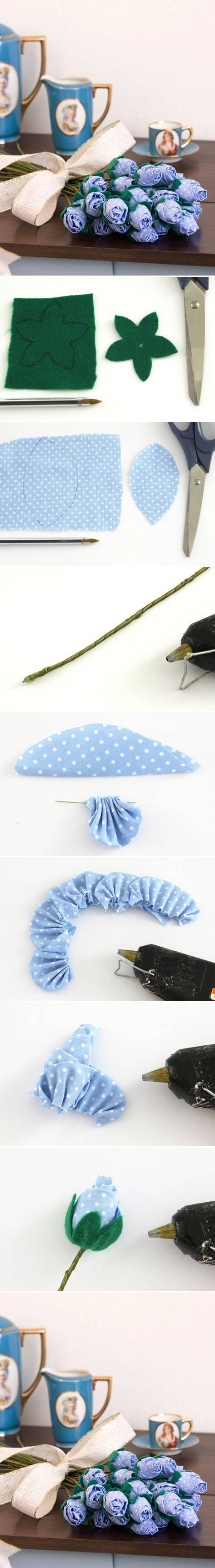 How to make Lilac Fabric Rose flowers step by step DIY tutorial instructions