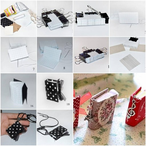 How to make Mini Notebook Pendant step by step DIY tutorial instructions thumb