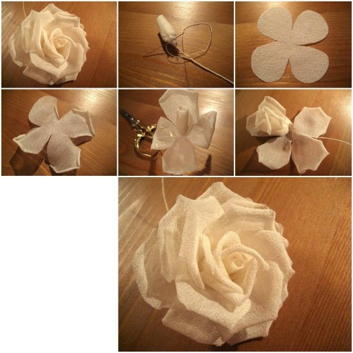 How to make Modular Silk Rose step by step DIY tutorial instructions thumb