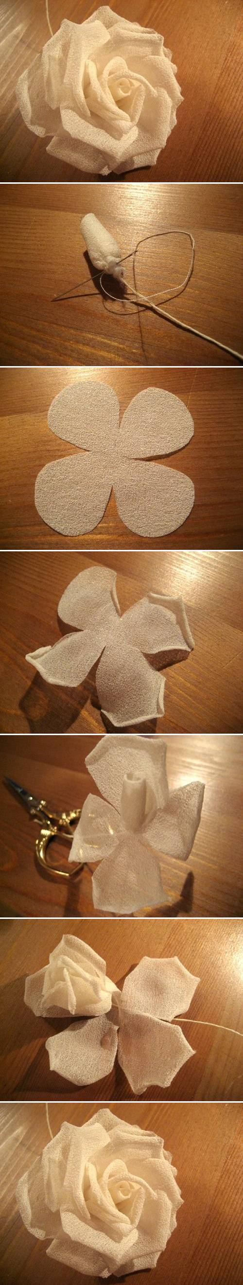 How to make Modular Silk Rose step by step DIY tutorial instructions