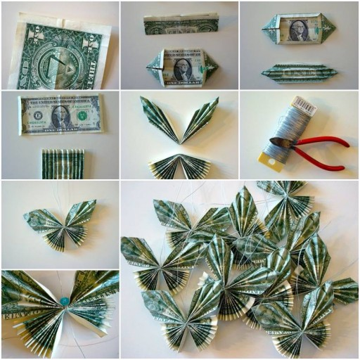 How to make Money Bill Butterfly step by step DIY tutorial instructions thumb