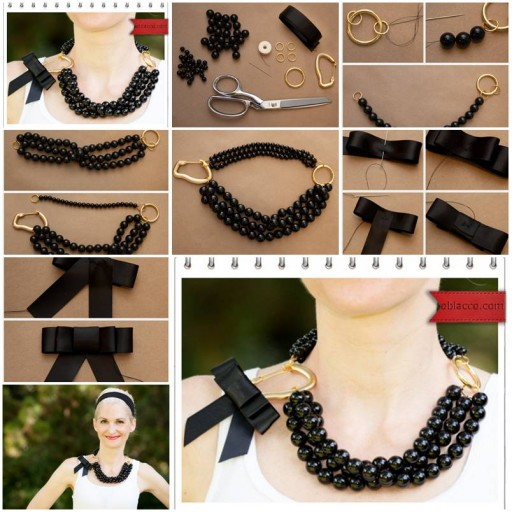 How to make Necklace of beads or pearl step by step DIY tutorial instructions thumb