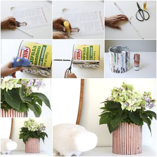How to make Newspaper Decoration pot for Flowers step by step DIY tutorial instructions thumb