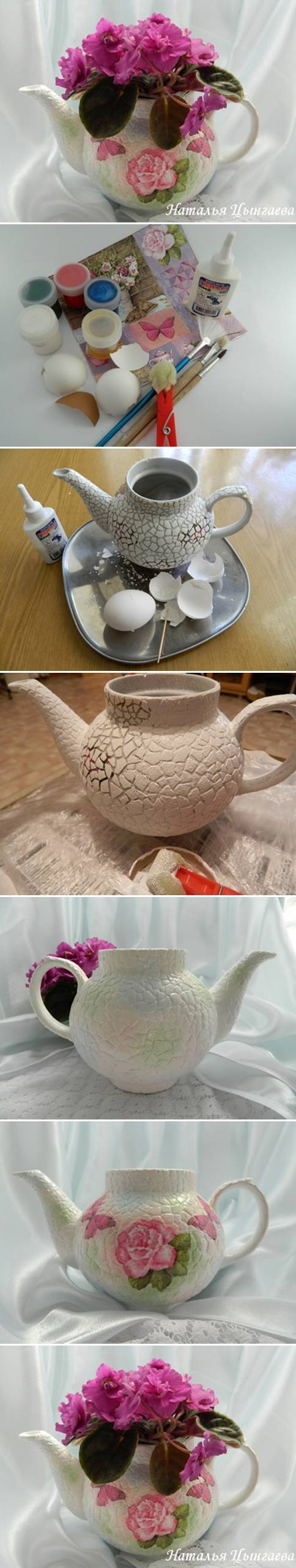 How to make Old Kettle Plant Pot with Eggshells step by step DIY tutorial instructions
