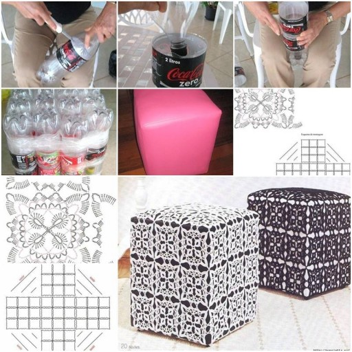 How to make ottoman out of plastic water bottles step by for Diy plastic bottle