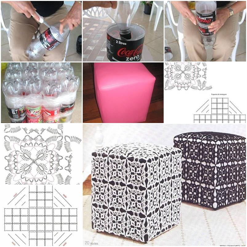 How to make Ottoman Out of Plastic Water Bottles step by ...