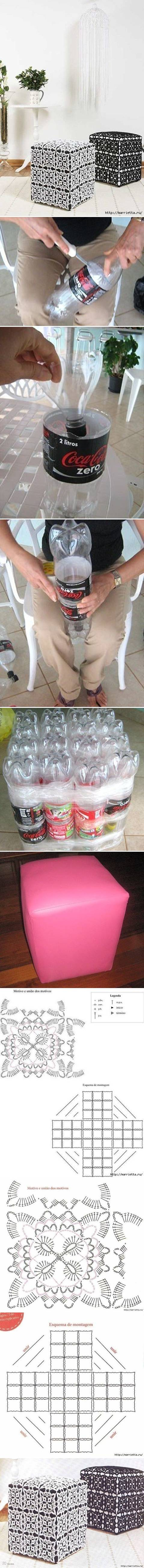 How to make Ottoman Out of Plastic Water Bottles step by step DIY tutorial instructions
