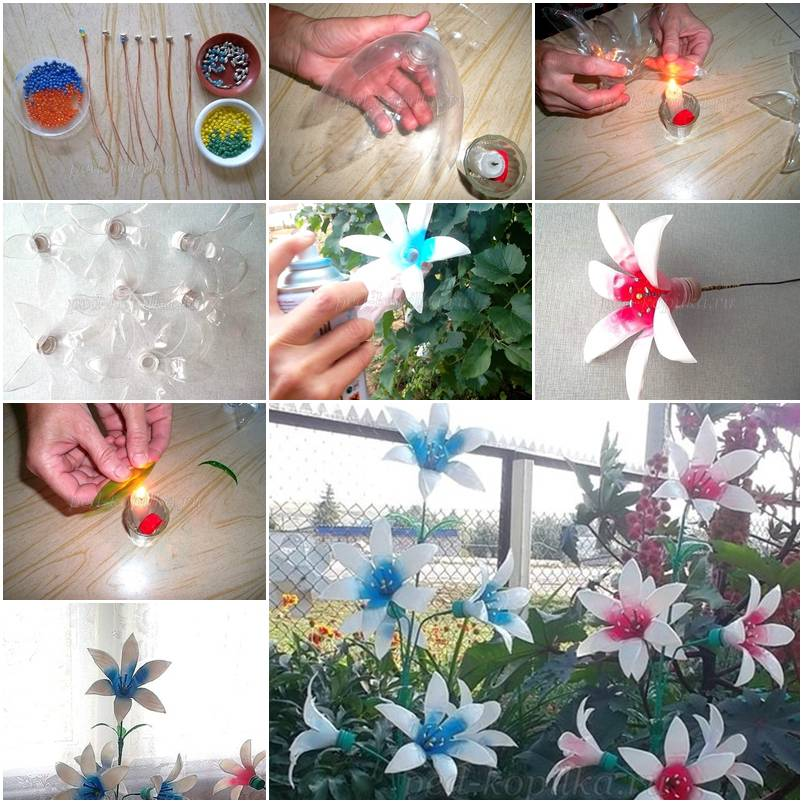 How to make Painted Plastic water Bottles crafts Flowers ...
