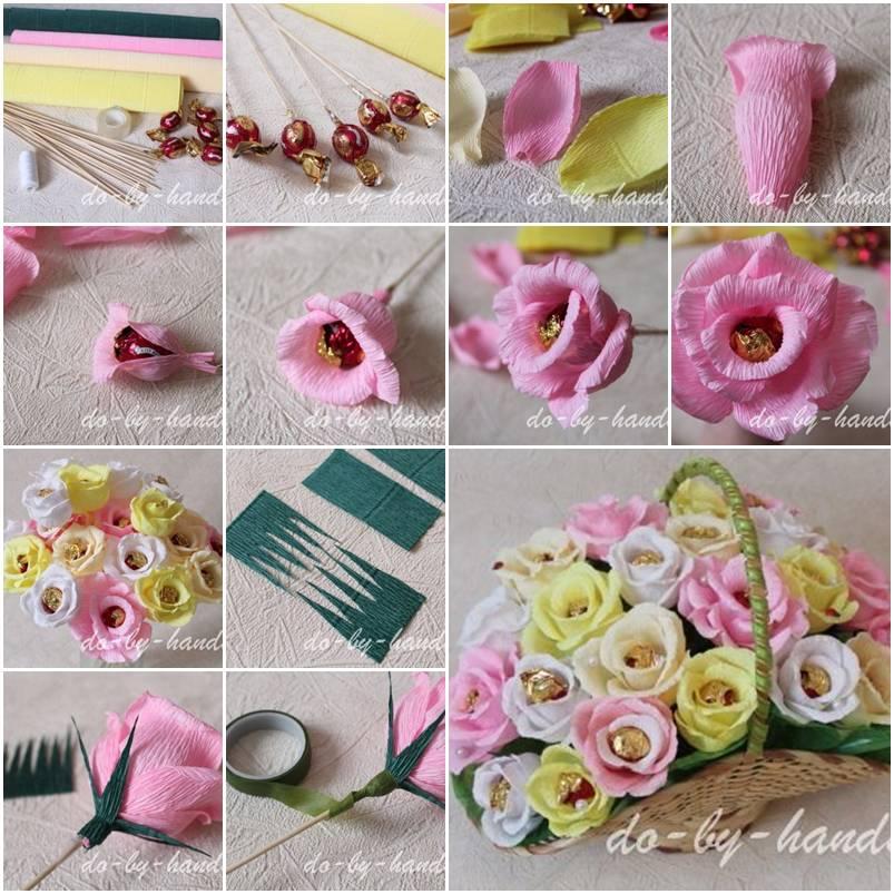 Простые цветы из гофрированной бумаги с конфетами своими руками 344
