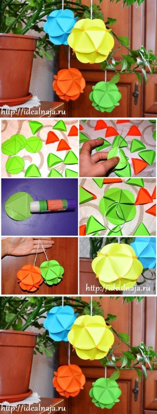 How to make Paper craft Ornaments step by step DIY tutorial instructions