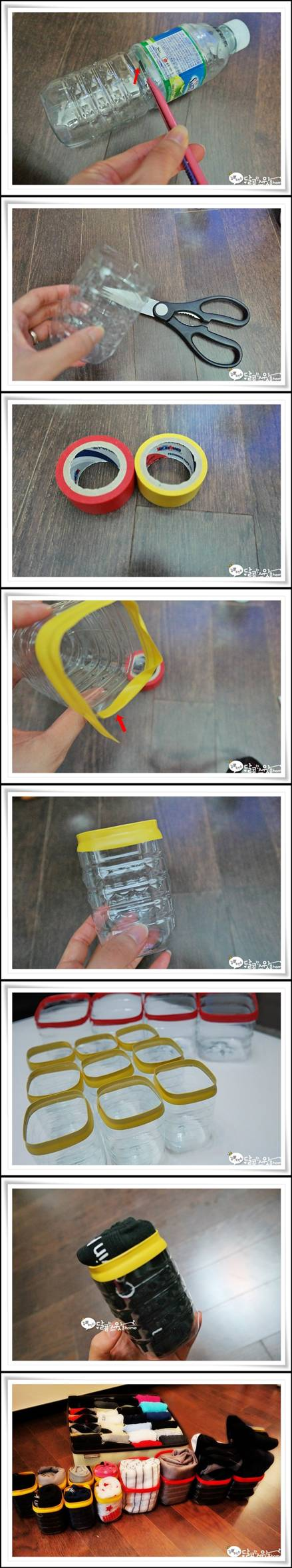 How to make Plastic Water Bottle Underwear Storage Units step by step DIY tutorial instructions