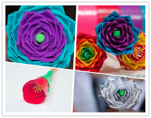 How to make Simple Flower of Tapes step by step DIY tutorial instructions