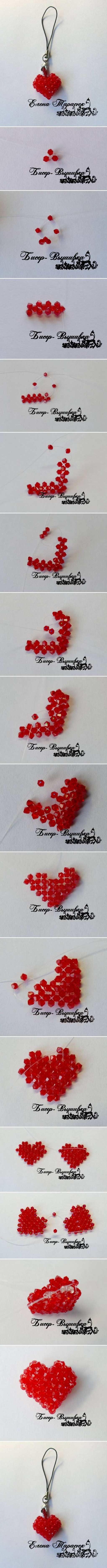 How to make beads or pearl Heart Ornament step by step DIY tutorial instructions