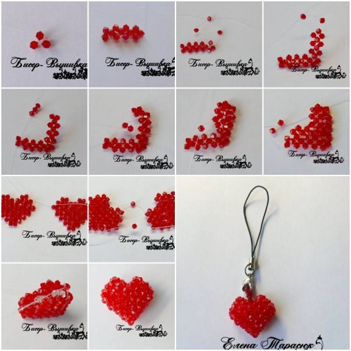 How to make beads or pearl Heart Ornament step by step DIY tutorial instructions thumb