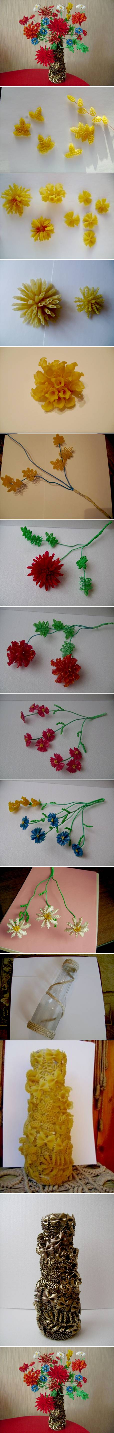 How to make beautiful Flowers and jar with pasta step by step DIY tutorial instructions