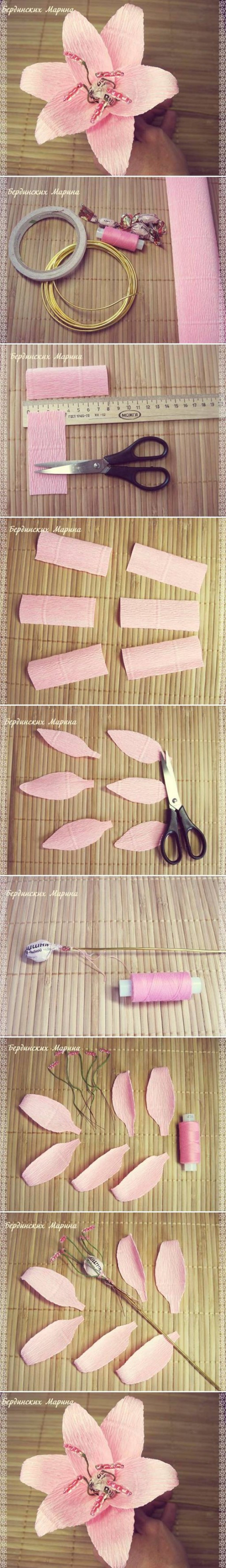 How to make beautiful Lily Flowers step by step DIY tutorial instructions