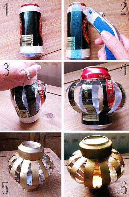 How to make beautiful candle jars with aluminium cans step by step DIY tutorial instructions