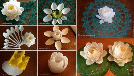 How to make beautiful decoration flowers with recycled plastic spoons step by step DIY tutorial instructions