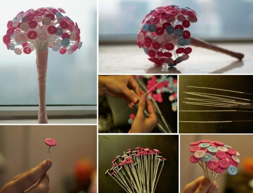 How to make beautiful flowers with buttons step by step DIY tutorial instructions