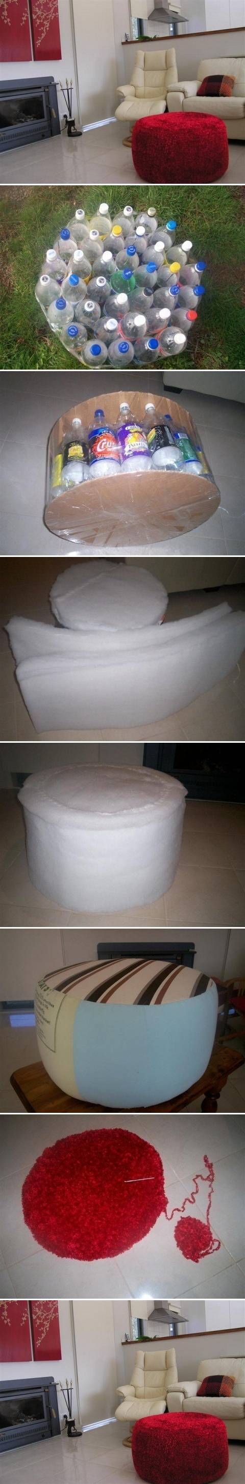 How to make beautiful ottoman with Plastic water Bottles step by step DIY tutorial instructions