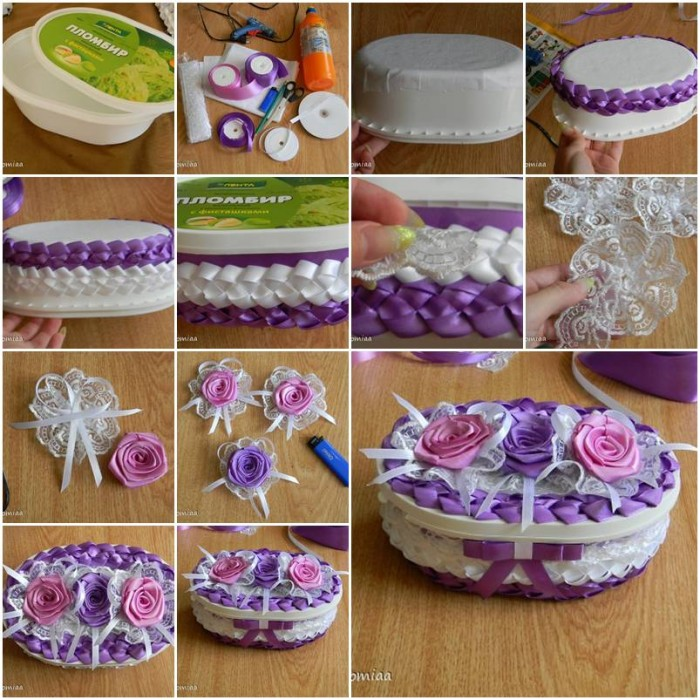 How to make beautiful unusual gift box with satin ribbons - How to make beautiful gift box ...